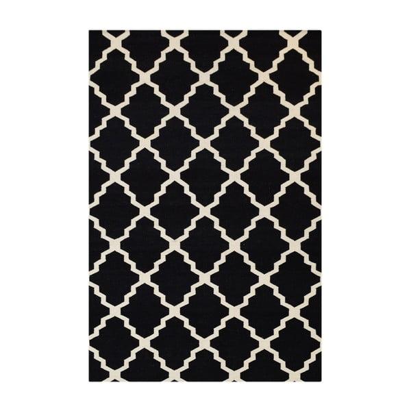 Dywan wełniany Kilim Jasmina Black, 200x290 cm