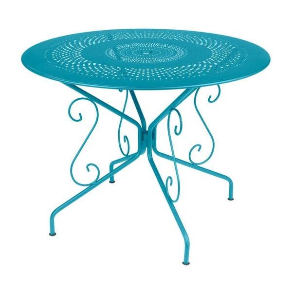 Turkusowy stół metalowy Fermob Montmartre, Ø 96 cm