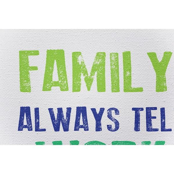 Obraz na płótnie Family Rules, 50x70 cm, szary