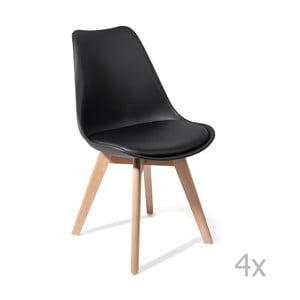 Zestaw 4   czarnych krzeseł Tomasucci Kiki Evo