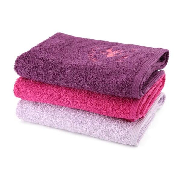 Komplet 3 ręczników BHPC 50x100 cm, fioletowy