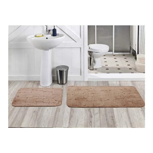 Zestaw 2 dywaników łazienkowych Dekoreko Kahve, 50x60 cm + 60x100 cm