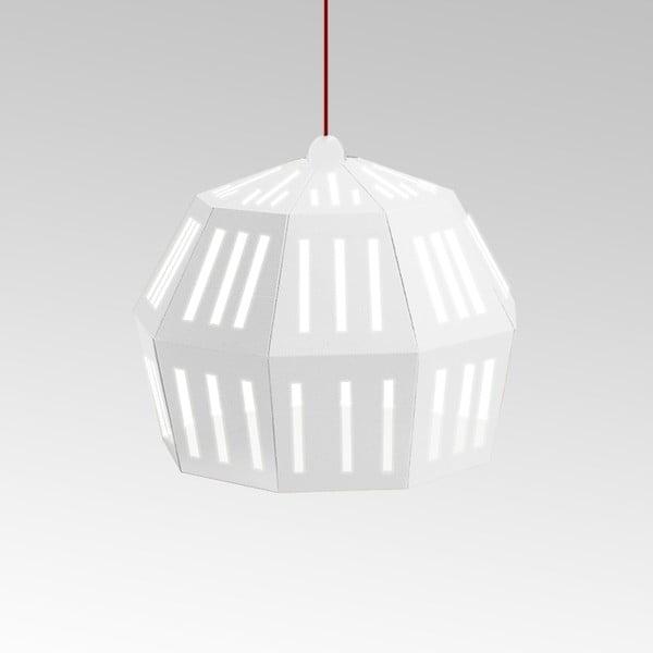 Kartonowa lampa Uno Fantasia C White, z czerwonym kablem