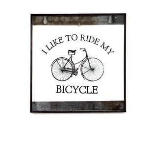 Szklana tablica z napisem Bicycle, 20x20 cm