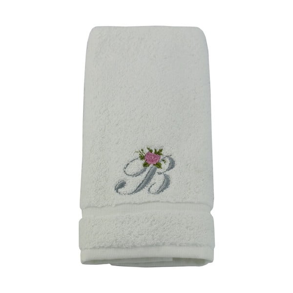 Ręcznik z inicjałem i różyczką B, 30x50 cm
