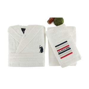 Zestaw damskiego szlafroka i 2 ręczników US Polo Lutsen White, roz. L