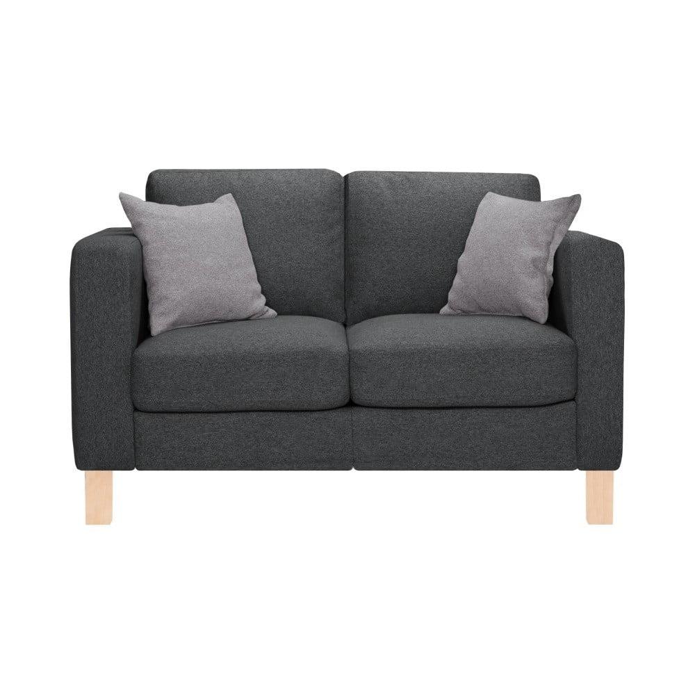 Antracytowa sofa 2-osobowa z 2 jasnoszarymi poduszkami Stella Cadente Maison Canoa