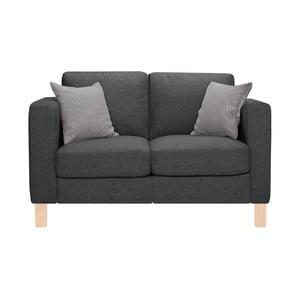Antracytowa sofa dwuosobowa z 2 jasnoszarymi poduszkami Stella Cadente Canoa