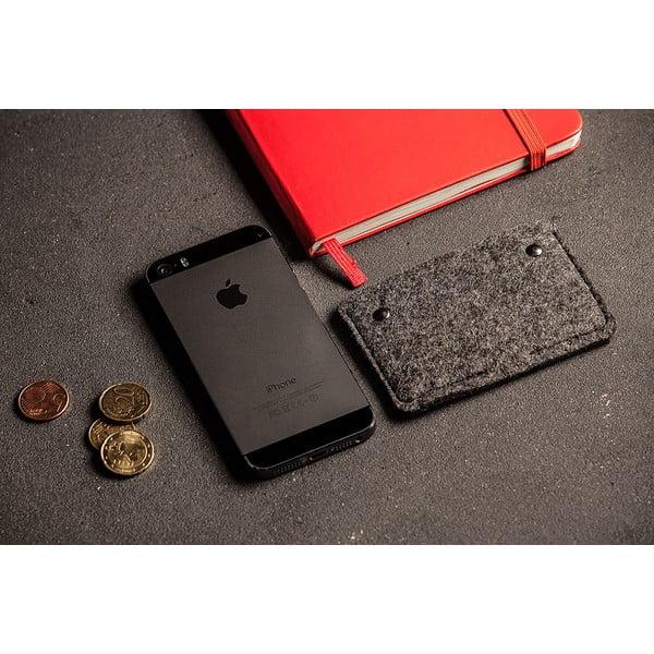 Skórzane etui na karty kredytowe Éstie, ciemnoszare
