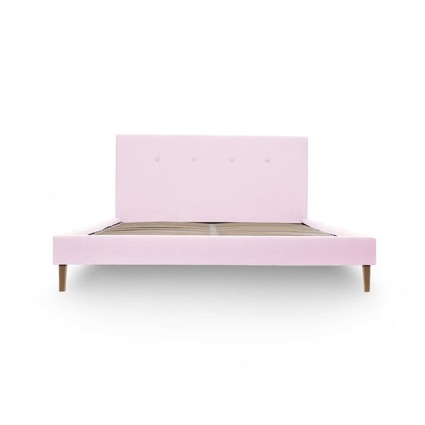 Pastelowo różowe łóżko z naturalnymi nóżkami Vivonita Kent, 140x200 cm