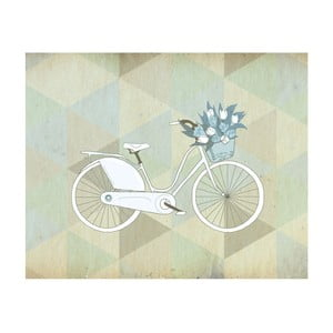 Plakat w drewnianej ramie Blue Bike, 38x28 cm