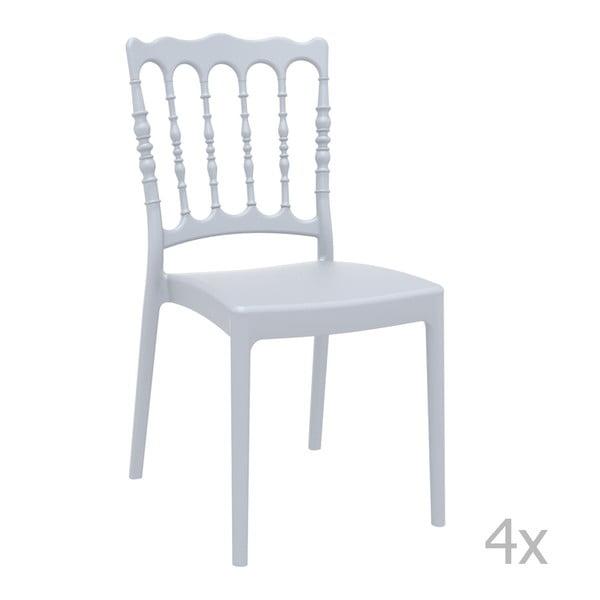Zestaw 4 szarych krzeseł ogrodowych Resol Napoleon