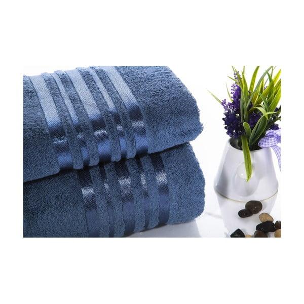 Komplet 2 niebieskich ręczników z bawełny Ladik Eleanor