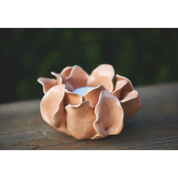 Ceramiczny świecznik Lotos, pomarańczowy
