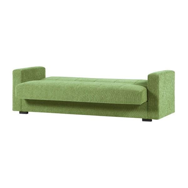 Zielona dwuosobowa sofa rozkładana ze schowkiem Esidra Relax