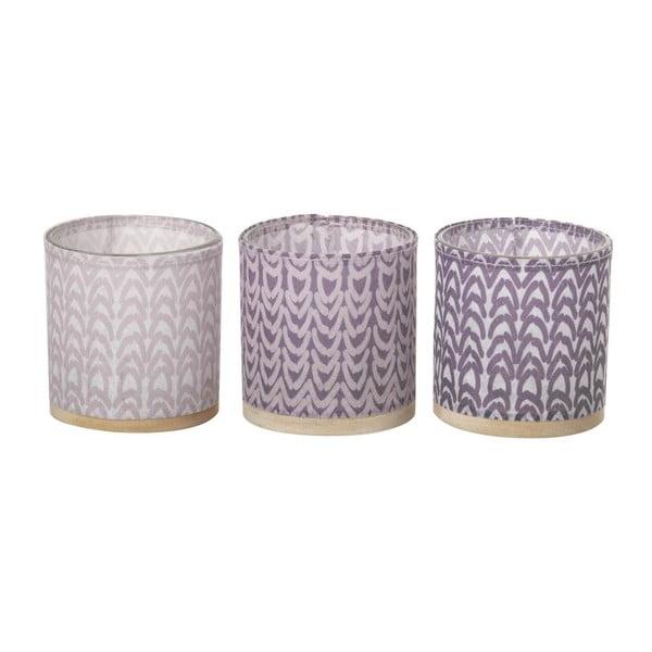 Zestaw 3 świeczników Weave Purple