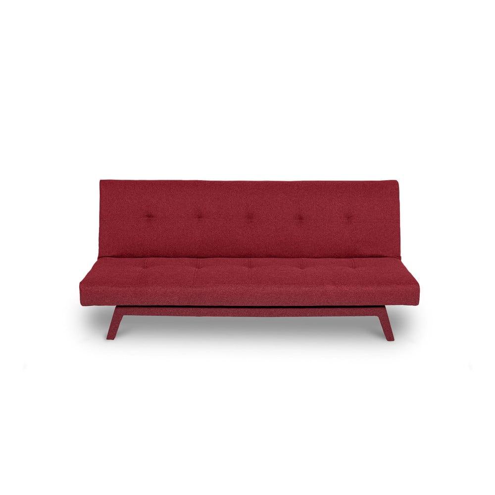 Ciemnoczerwona rozkładana sofa z ciemnoczerwonymi nogami loomi.design Ozzie
