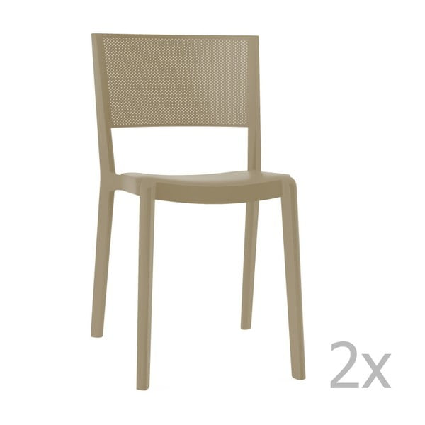 Zestaw 2 beżowych krzeseł ogrodowych Resol spot
