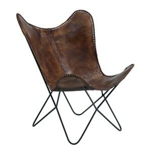 Ciemnobrązowy fotel z postarzanej skóry Fuhrhome Amazon