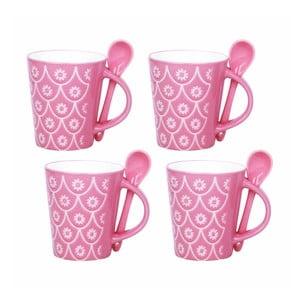 Zestaw 4 filiżanek z łyżeczkami Mugs, różowy