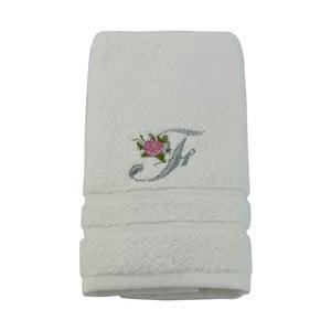Ręcznik z inicjałem i różyczką F, 50x90 cm