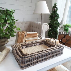 Zestaw 3 tac Rattan Country Style