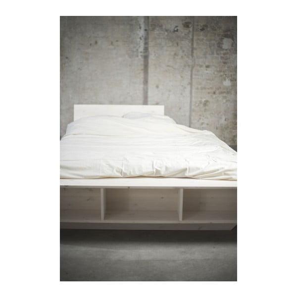 Łóżko Luke z regulowanym zagłówkiem i półkami, 140x200 cm