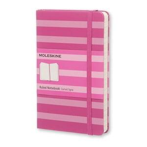 Różowy notatnik w linie Moleskine Hard w prążki, mały