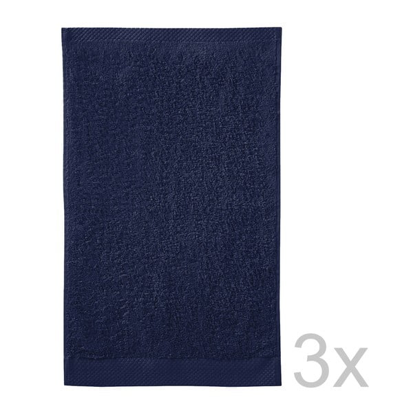 Komplet   3 ręczników Pure Indigo, 30x50 cm