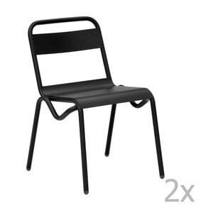 Zestaw 2 czarnych krzeseł ogrodowych Isimar Anglet