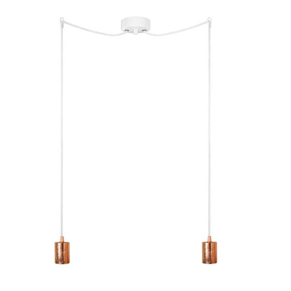 Lampa wisząca podwójna Cero, miedziany/biały/biały