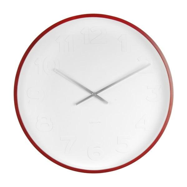 Czerwono-biały zegar ścienny Karlsson Mr Woody Numbers