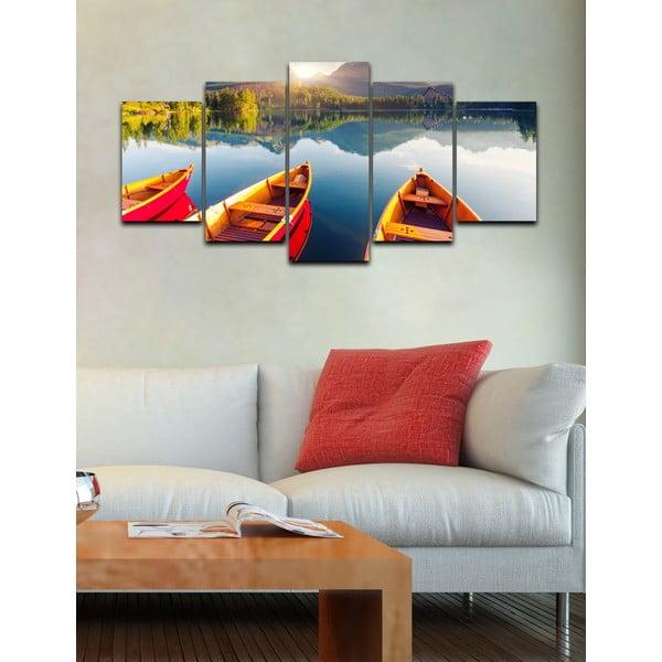 Pięcioczęściowy obraz Na łódce