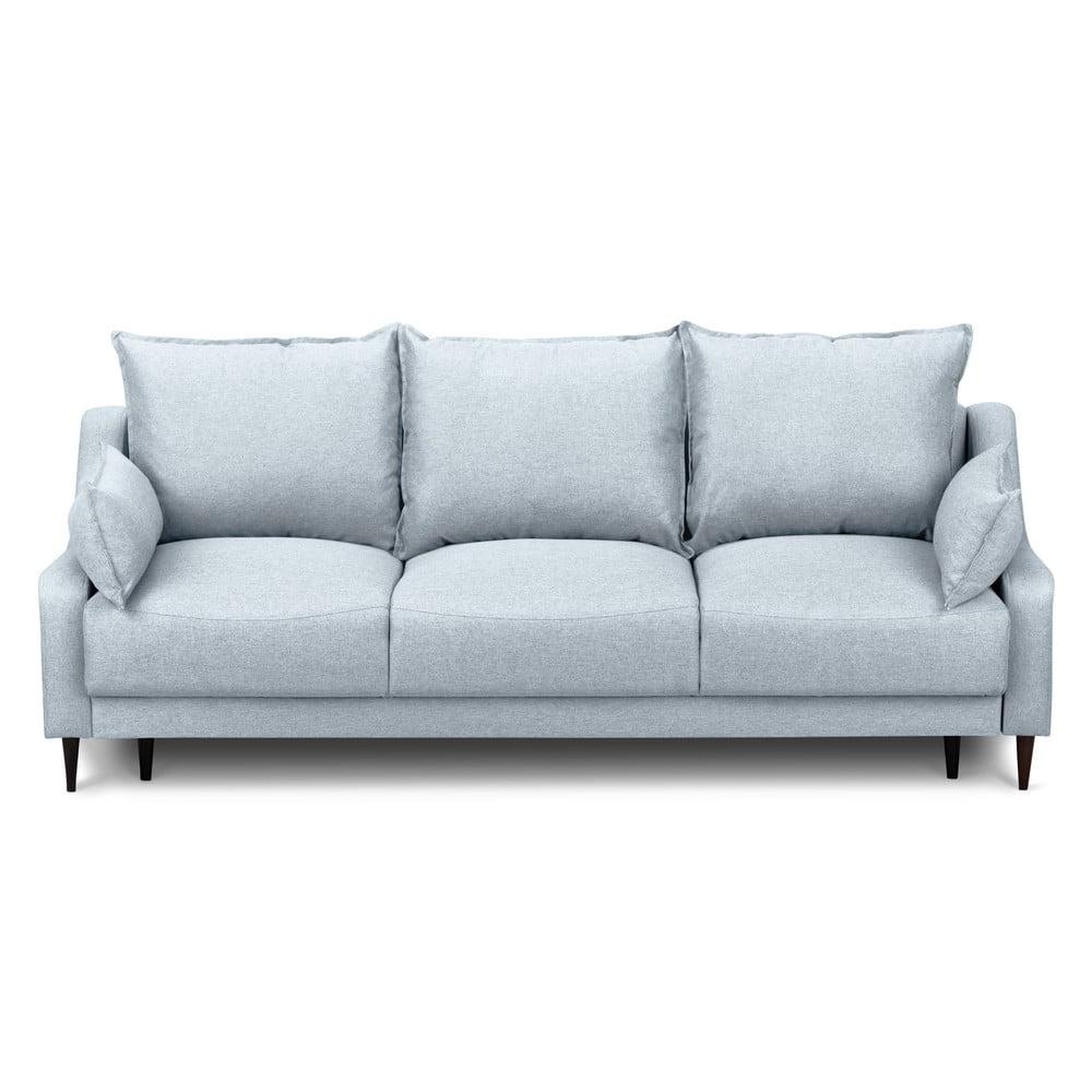 Jasnoniebieska rozkładana sofa 3-osobowa ze schowkiem Mazzini Sofas Ancolie