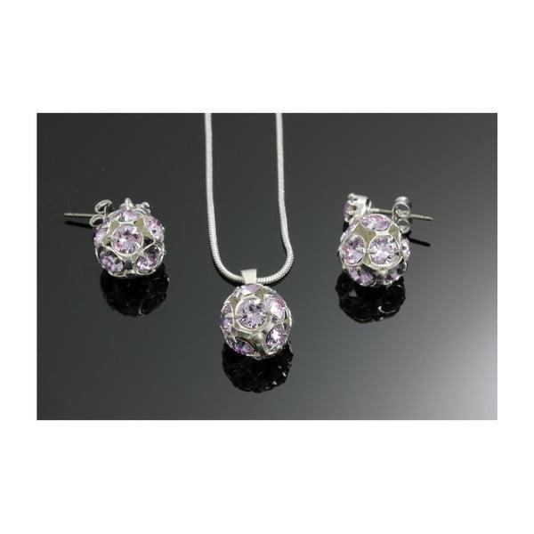 Komplet   naszyjnika i kolczyków z fioletowymi kryształami Swarovskiego Yasmine