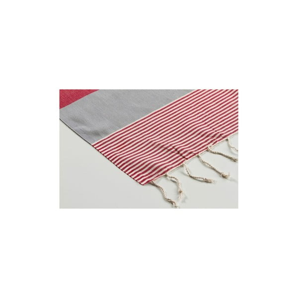 Ręcznik hamam Amerikan Grey Red, 100x180 cm