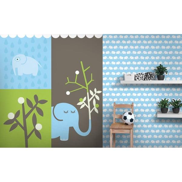 Fizelinowa tapeta Elephants 270x46.5 cm, niebieska