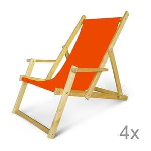 Komplet 4 regulowanych leżaków drewnianych z podłokietnikami JustRest, pomarańczowy