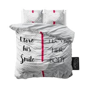 Różowo-szara pościel z mikroperkalu Sleeptime What Do You Love, 200x220cm