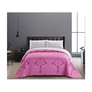 Różowo-biała dwustronna narzuta z mikrowłókna DecoKing Sweet Dreams, 240x260 cm