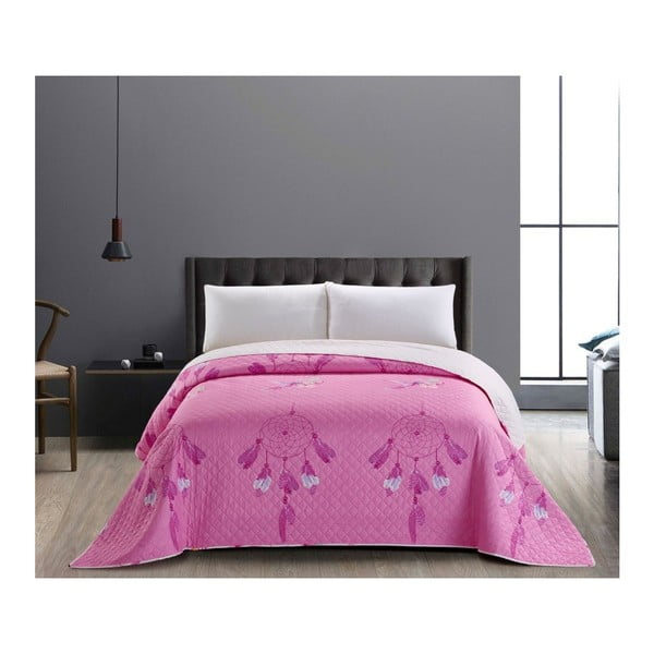 Różowo-biała dwustronna narzuta z mikrowłókna DecoKing Sweet Dreams, 260x280 cm