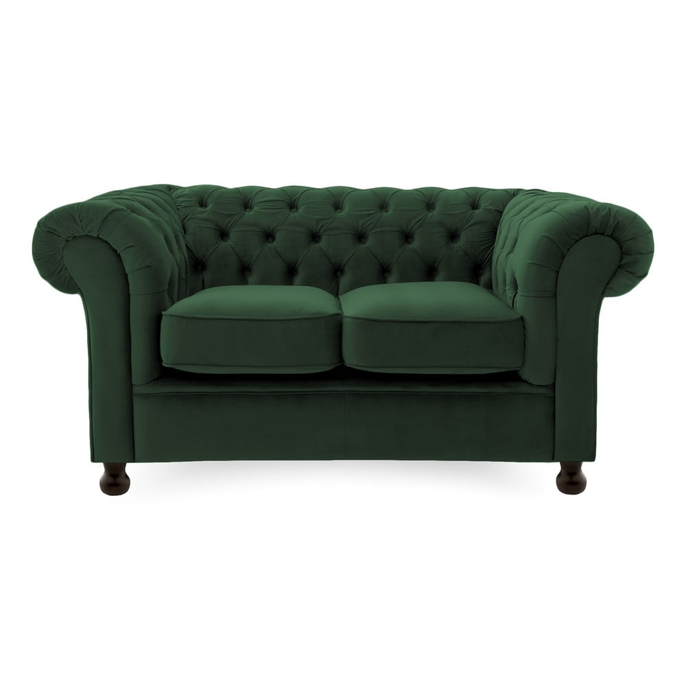 Ciemnozielona sofa 2-osobowa Vivonita Chesterfield