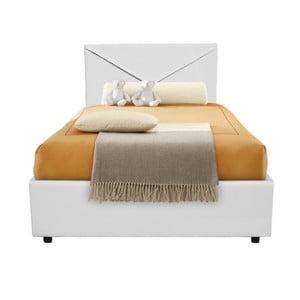 Białe łóżko jednoosobowe ze schowkiem 13Casa Mina, 95x205cm