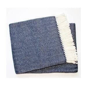 Ciemnoniebieski koc z dodatkiem bawełny Euromant Skyline, 140x180 cm
