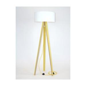 Żółta lampa stojąca z białym abażurem i żółtym kablem Ragaba Wanda
