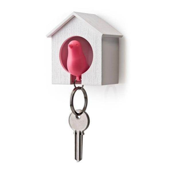 Budka z zawieszką na klucze QUALY Sparrow, biała/różowa