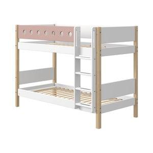 Różowo-białe dziecięce łóżko piętrowe z nogami z drewna brzozowego Flexa White, wys. 154 cm