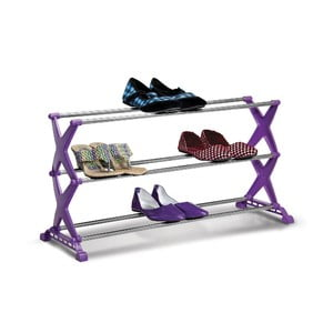 Fioletowy regał składany na buty Bonita Easy, 3 półki