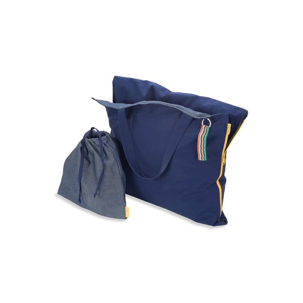 Przenośny leżak + torba Hhooboz 150x62 cm, granatowy