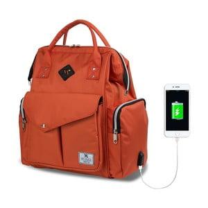 Pomarańczowy plecak dla mam z USB My Valice HAPPY MOM Baby Care Backpack